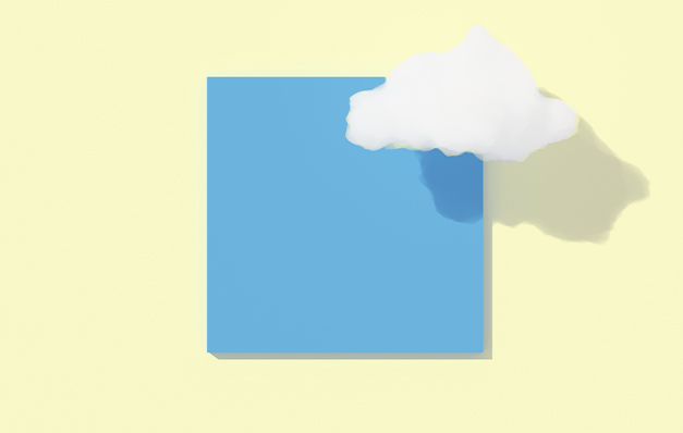 cloud in front of blue square