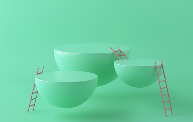 green semi-spheres with ladders