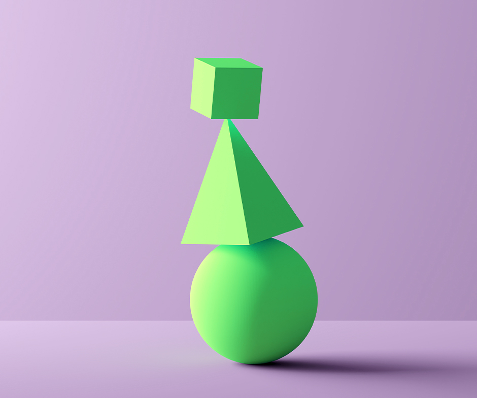 green cube, sphere, and pyramid