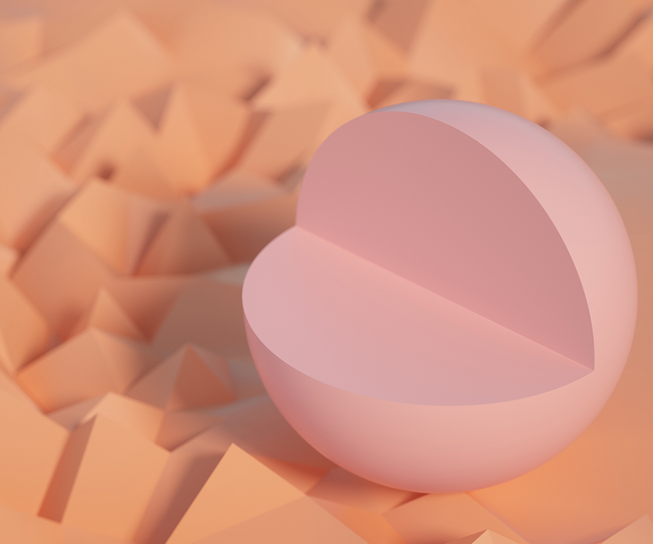 pink sphere missing a fourth of a slice